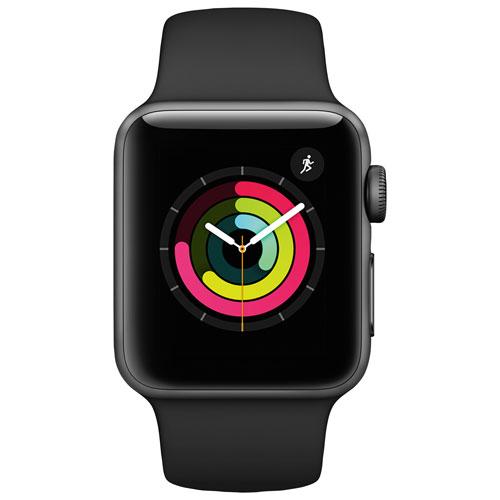 Apple Watch Series 3 (GPS + cellulaire) 38 mm boîtier aluminium gris  sidéral et bracelet sport noir   Apple Watch - Best Buy Canada 007f87a38f0e