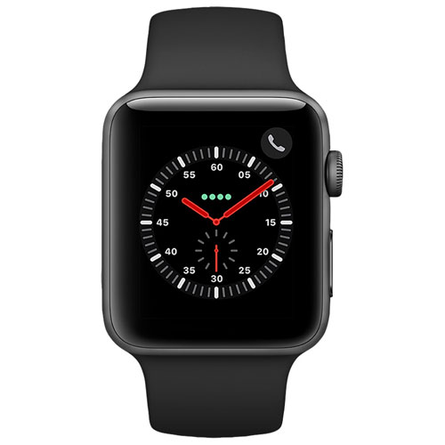 Apple Watch Series 3 (GPS + Cellular) 42mm Space Grey Aluminium Case with Black Sport Band