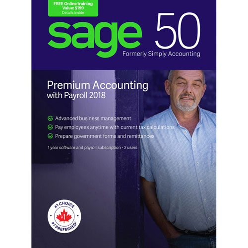 Sage 50 Premium Accounting with Payroll 2018 (PC) - 2 User - 1 Year