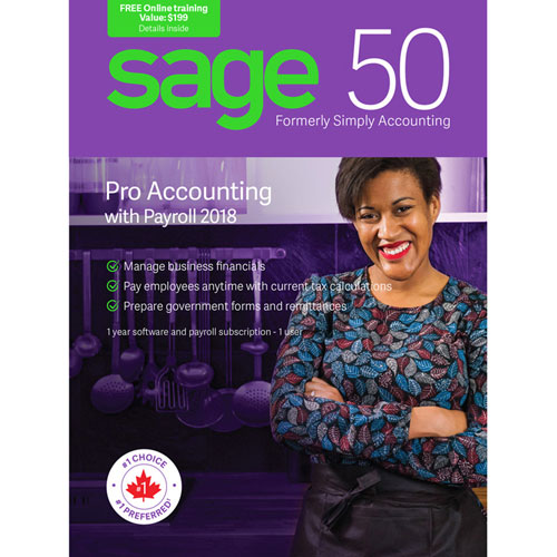 Sage 50 Pro Accounting with Payroll 2018 (PC) - 1 User - 1 Year