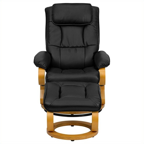 Flash Furniture Recliner and Ottoman in Black with Swiveling Base