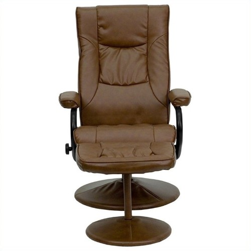 Flash Furniture Palimino Recliner and Ottoman in Brown with Base