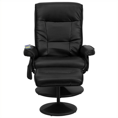 Flash Furniture Massaging Recliner and Ottoman in Black with Base