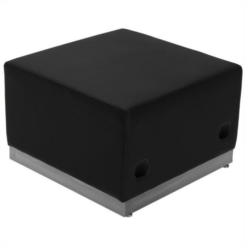 Flash Furniture Hercules Alon Steel Base Ottoman in Black