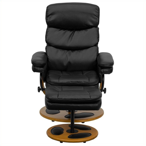 Flash Furniture Contemporary Black Recliner and Ottoman with Base