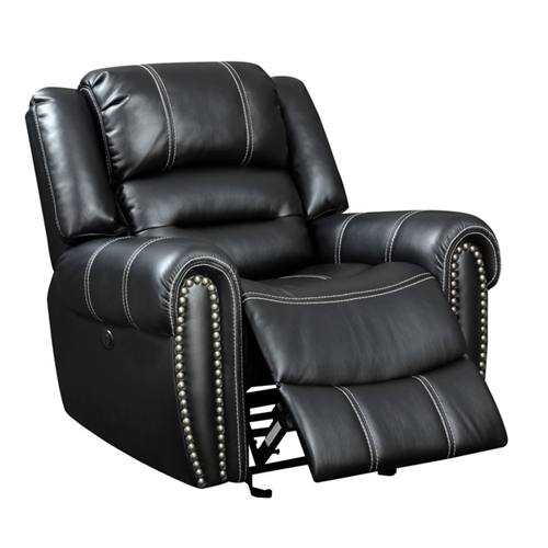 Furniture of America Stinson Faux Leather Power Recliner in Black