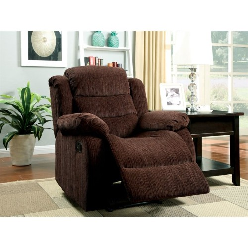 Furniture of America Enrique Chenille Recliner in Brown