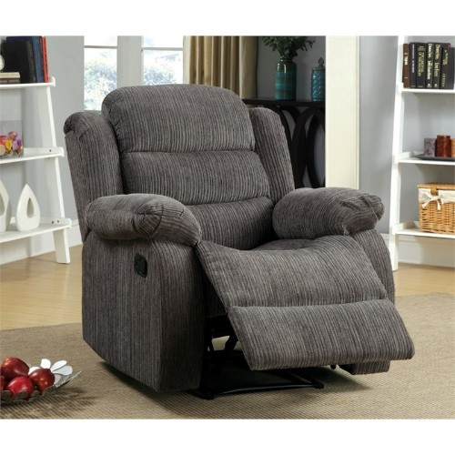 Furniture of America Enrique Chenille Recliner in Gray