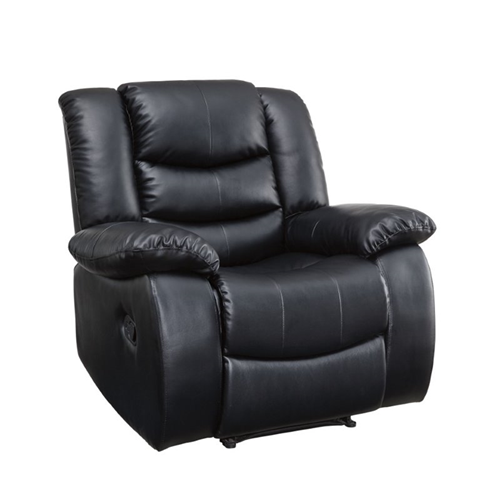 Furniture of America Torrance Leather Recliner in Black