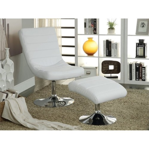 Furniture of America Kalan Lounge Chair with Ottoman in White