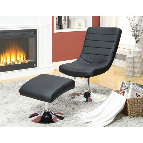 Furniture of America Kalan Lounge Chair with Ottoman in Black