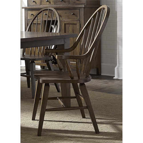 Liberty Furniture Hearthstone Windsor Back Dining Arm Chair In Oak Accent Chairs