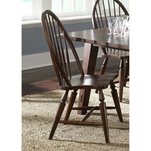 Liberty Furniture Cabin Fever Windsor Back Dining Side Chair In Brown Chairs
