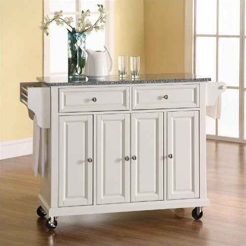 Crosley Furniture Solid Granite Top Kitchen Cart In White