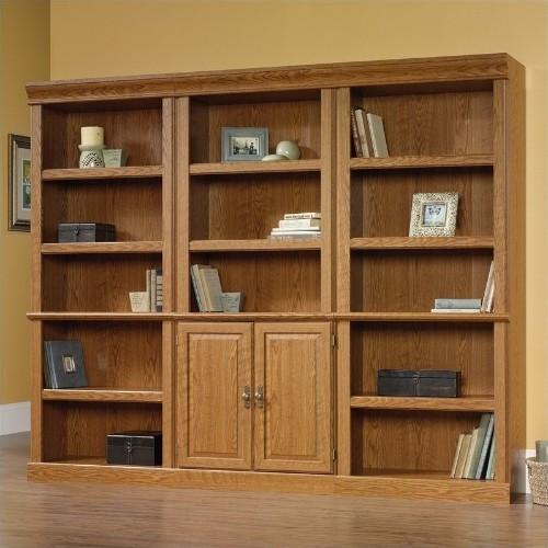 Sauder Orchard Hills Wall Library In Carolina Oak Finish Bookcases
