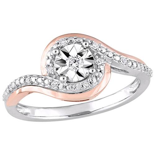 design de qualité 08ed9 4691a Bague de fiançailles à halo en or blanc et rose 10 ct avec diamants ronds  0,1 ct - Taille 7