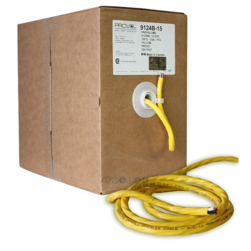 ThruSound Yellow 12AWG 4-Conductor FT4 In-Wall Speaker Wire (250 feet)
