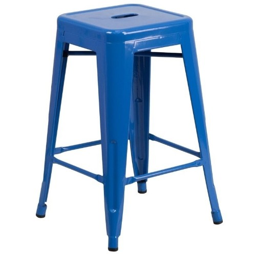 Phenomenal Flash Furniture Metal 24 Backless Counter Stool In Blue Short Links Chair Design For Home Short Linksinfo
