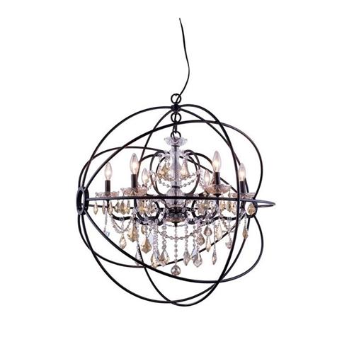 Elegant Lighting Geneva 32 6 Light Royal Crystal Pendant Lamp