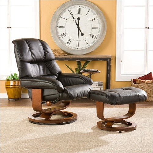 Southern Enterprises Canyon Lake Leather Recliner Chair and Ottoman in Black