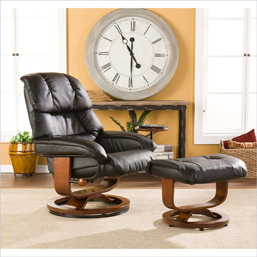 Holly & Martin Canyon Lake Leather Recliner Chair and Ottoman in Black