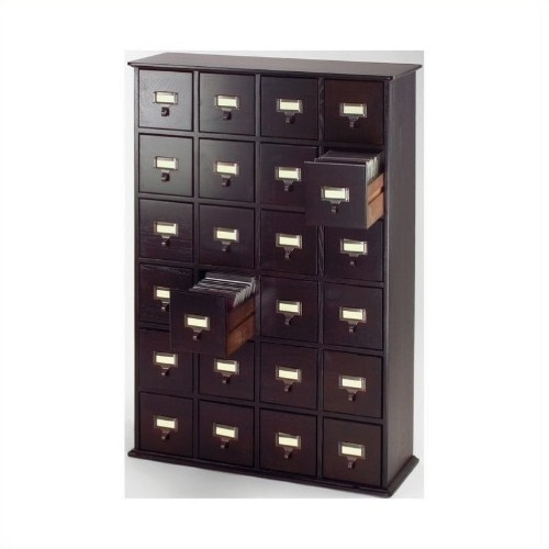 Leslie Dame 40 24 Drawer Cd Media Storage Cabinet In Espresso