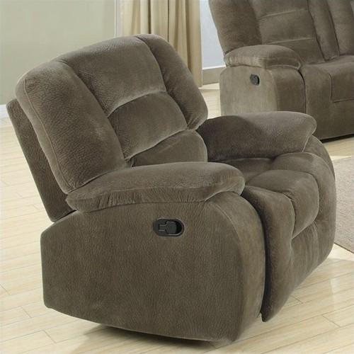 Coaster Charlie Glider Recliner Chair in Brown Sage Velvet