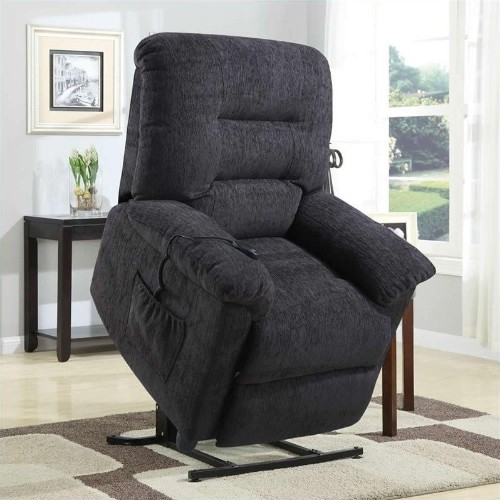 Coaster Power Lift Recliner Chair with Remote Control in Dark Grey