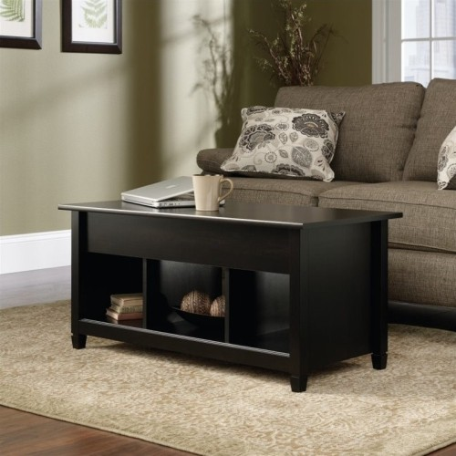 Sauder Edge Water Lift Top Coffee Table In Estate Black Coffee