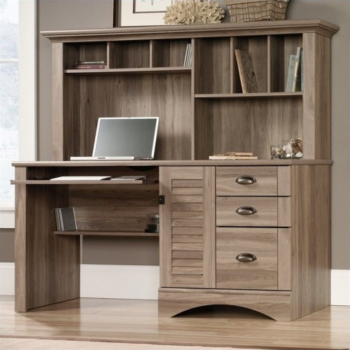 computer desk hutch black harbor hills orchard door salt sauder view oak with instructions
