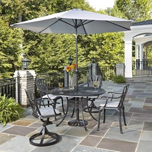 Home Styles Largo 6 Piece Patio Dining Set With Umbrella In Charcoal