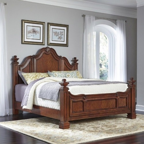 Home Styles Santiago Wood Rustic Country Bed King Cognac Beds