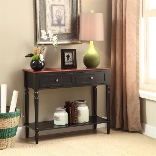 Convenience Concepts French Country Console Table In Black Cherry - Convenience concepts french country coffee table