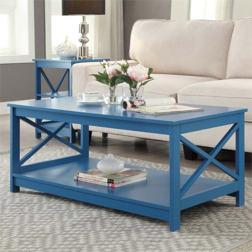 Tremendous Convenience Concepts Oxford Coffee Table In Blue Caraccident5 Cool Chair Designs And Ideas Caraccident5Info