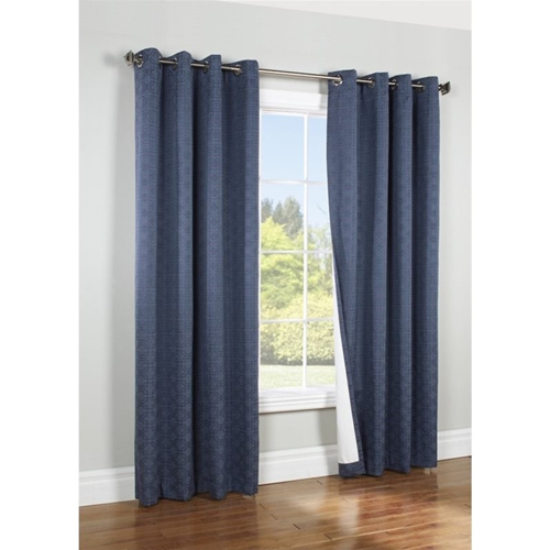 Commonwealth Thermalogic Iron Gate 84 Grommet Curtain Panel In Navy