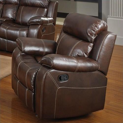Coaster Myleene Leather Glider Recliner Chair in Brown