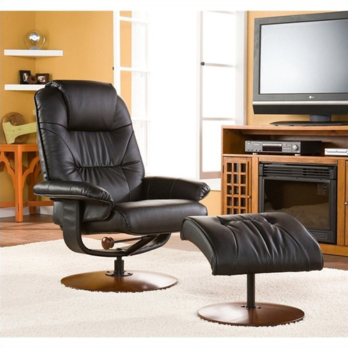 Southern Enterprises Recliner and Ottoman in Black