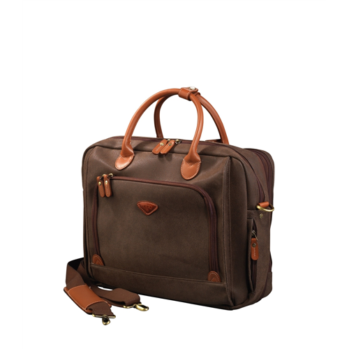 "17"" LAPTOP CASE, 2 COMPARTMENTS IN POLYSUEDE COATED ON POLYESTER, CHOCOLATE"