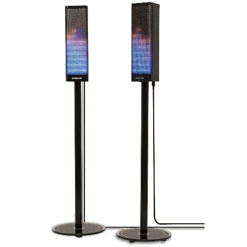 2 Pair of Bluetooth Tower Speakers w/ LED Light Show by Sharper Image