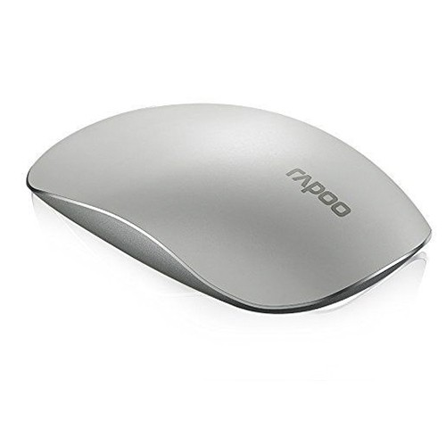 RAPOO T8 USB Wireless 5.8GHz Ultra-Thin Laser Touch Mouse Durable Computer Mouse Slient Clicking_White