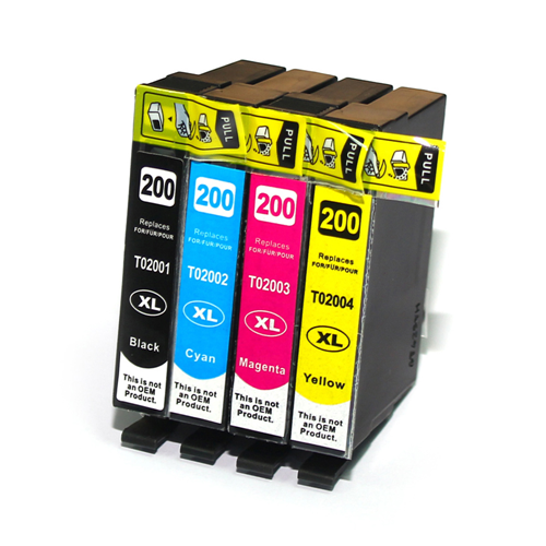 C1 4PK Compatible T200XL CMYK High Yield Inkjet Cartridges for Epson XP100 XP200 XP300 WF-2530 WF-2540