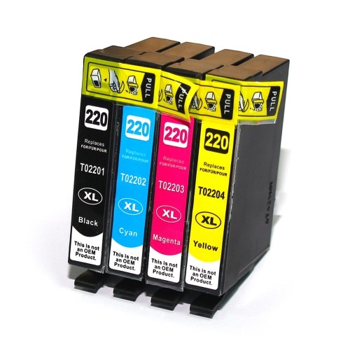 C1 Epson 4PK New Compatible T220XL CMYK High Yield Inkjet Cartridge, High Yield