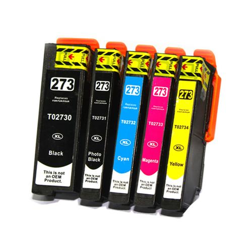 C1 5PK Compatible T273XL PBKCMYK High Yield Inkjet Cartridges for Epson XP-520 XP-600 XP-620 XP-700 XP-800 XP-810