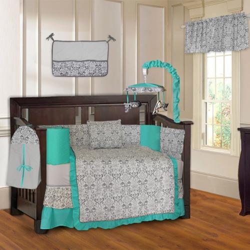 pretty nice 6181b 0cdba BabyFad Turquoise Damask 10 Piece Baby Crib Bedding