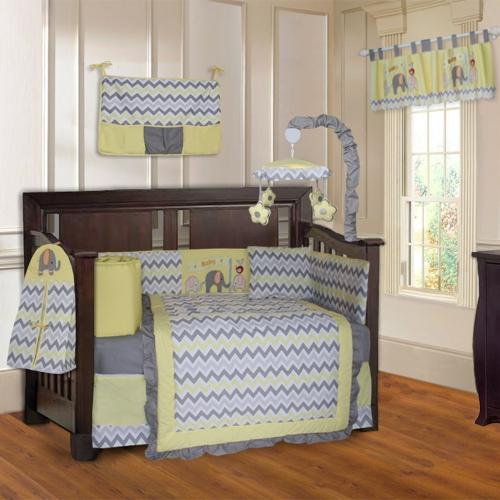 Babyfad Elephant Zigzag Yellow 10 Piece, Yellow Gray Crib Bedding