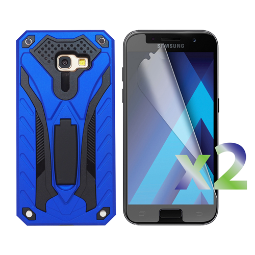 Exian Samsung Galaxy A5 2017 Screen Protectors X 2 and Armored Case with Stand Blue