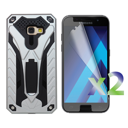 Exian Samsung Galaxy A5 2017 Screen Protectors X 2 and Armored Case with Stand Silver