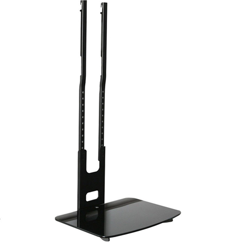 AMX Single Media DVD shelf for receiver, cable box and more, Black Tempered Glass, Fixed to TV Mount