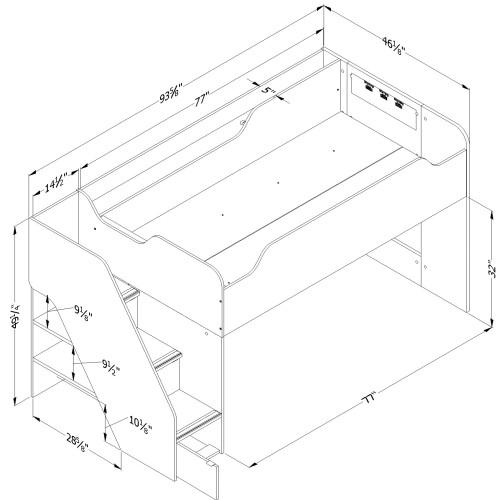 lit mezzanine simple 39 avec escalier mobby blanc. Black Bedroom Furniture Sets. Home Design Ideas