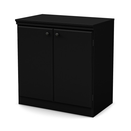 South Shore Morgan Small 2 Door Storage Cabinet Pure Black Filing